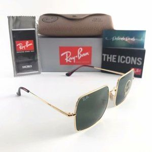 New Ray-Ban 1971 Green Lens Square Sunglasse 54MM